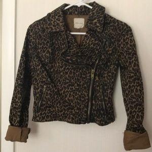 UO Silence + Noise Cropped Leopard Moto Jacket